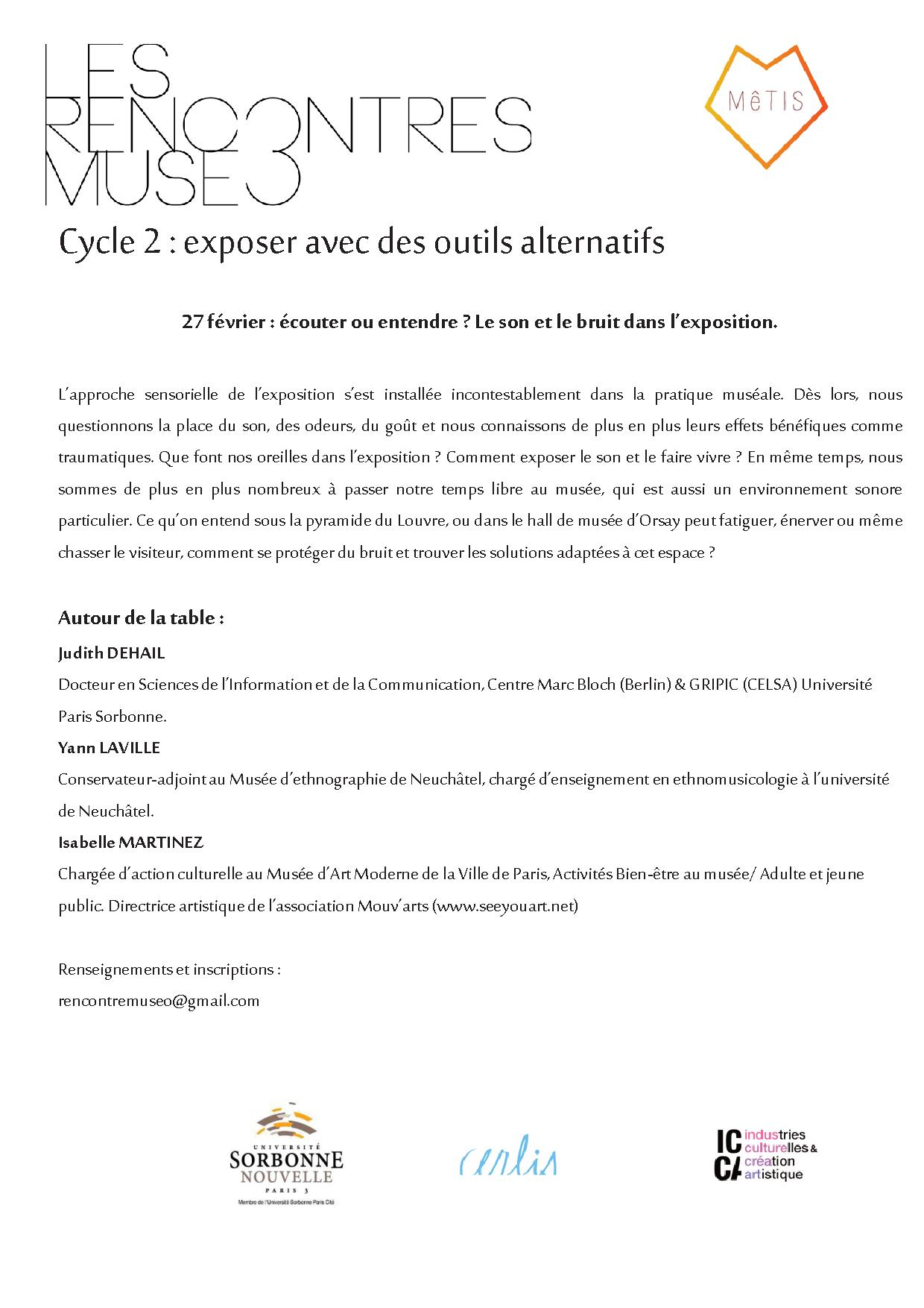 <strong>Le 27 février  </strong> &#8211; Rencontres Museo