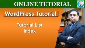 WordPress Tutorial List Index