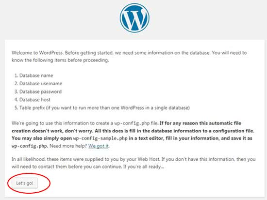 Step 8 Install WordPress Information required