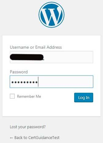 Step 13 WordPress Installed Login Page