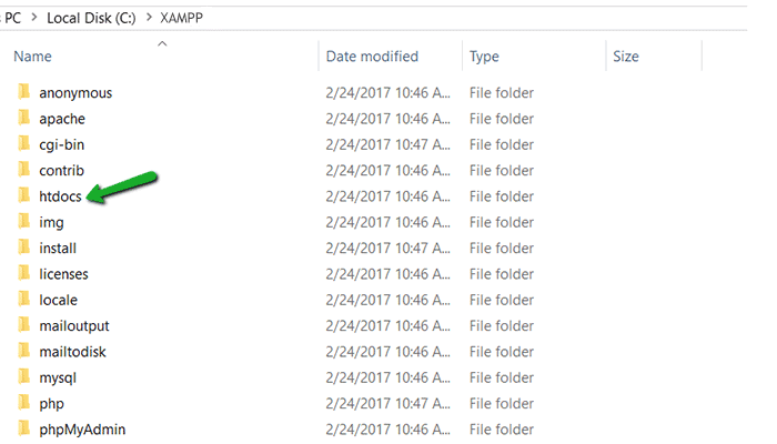 XAMPP htdocs folder