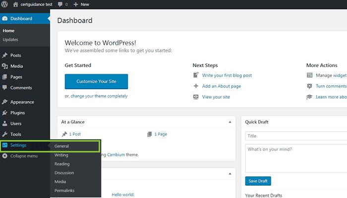 General Settings WordPress Menu