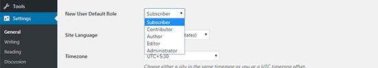 Member default role general settings WordPress