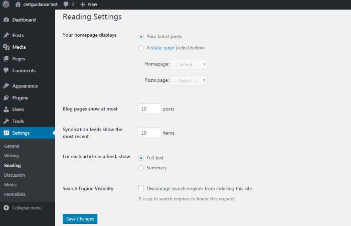 WordPress Reading Settings page
