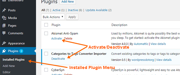 Activate Deactivate plugin