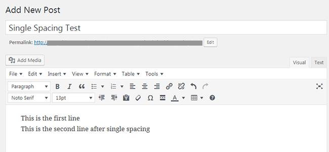 Single Line Spacing in WordPress