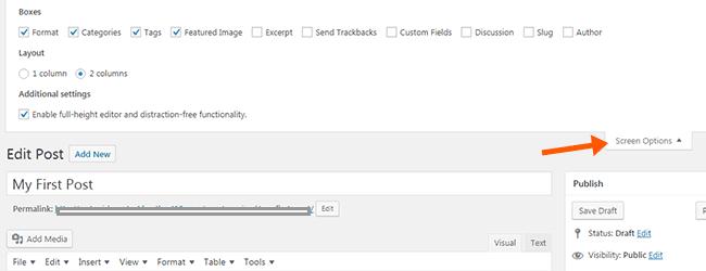 Screen Options menu in WordPress