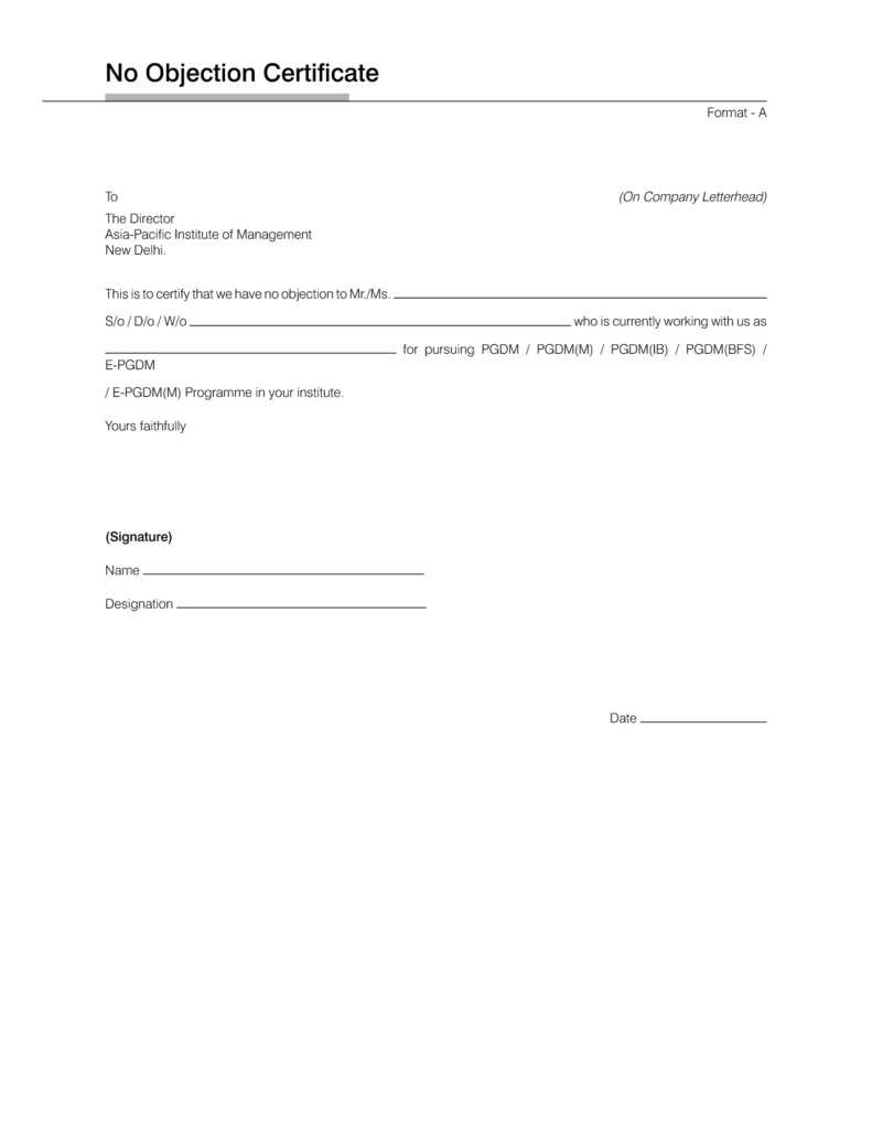 No Objection Letter Format – Format of No Objection Certificate