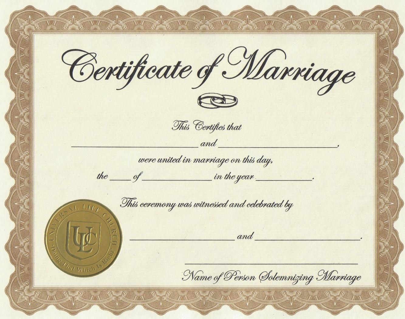 photograph about Printable Marriage Certificates named cost-free blank relationship certification template - Sinma
