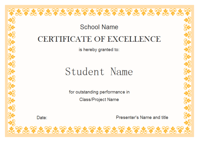 Doc550425 Certificate of Excellence Template Word certificate – Certificate of Excellence Template Word