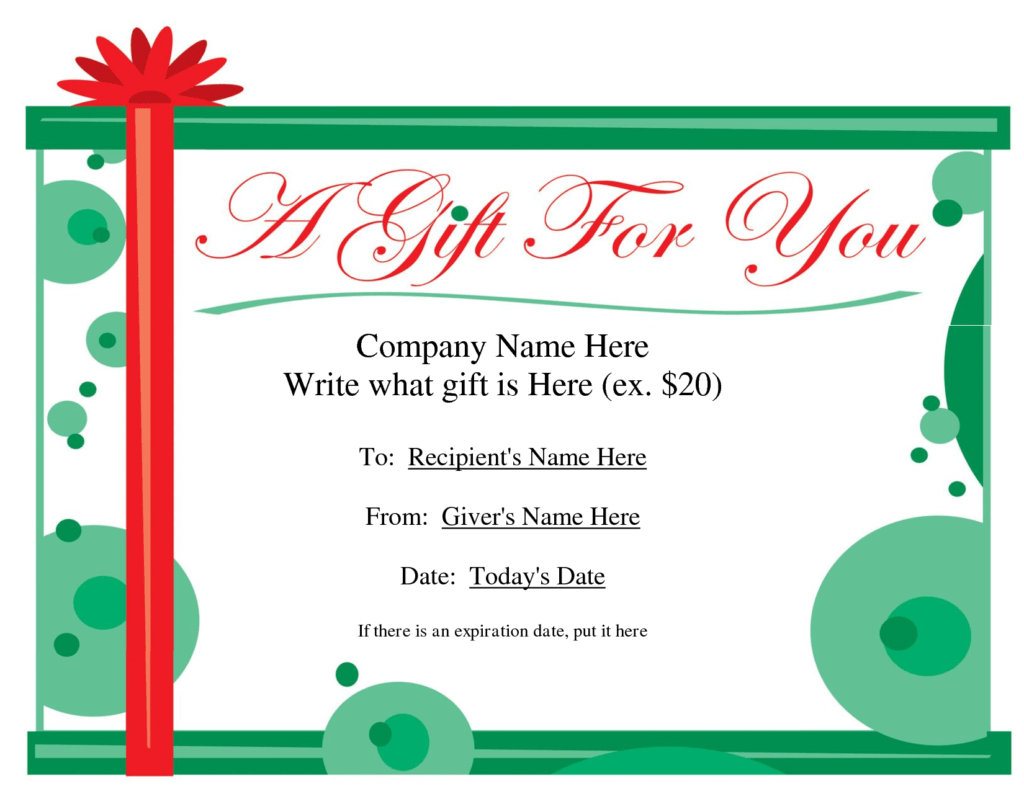 Gift Certificate Disclaimer Wording - Certificate Templates