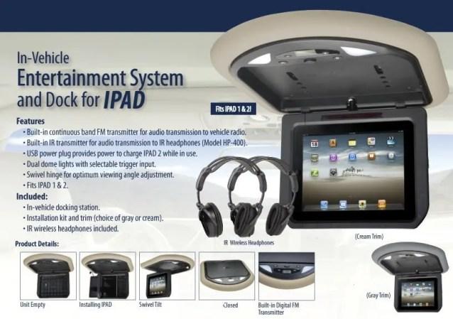 In Car iPad Overhead Docking Station for iPad1 and iPad2.