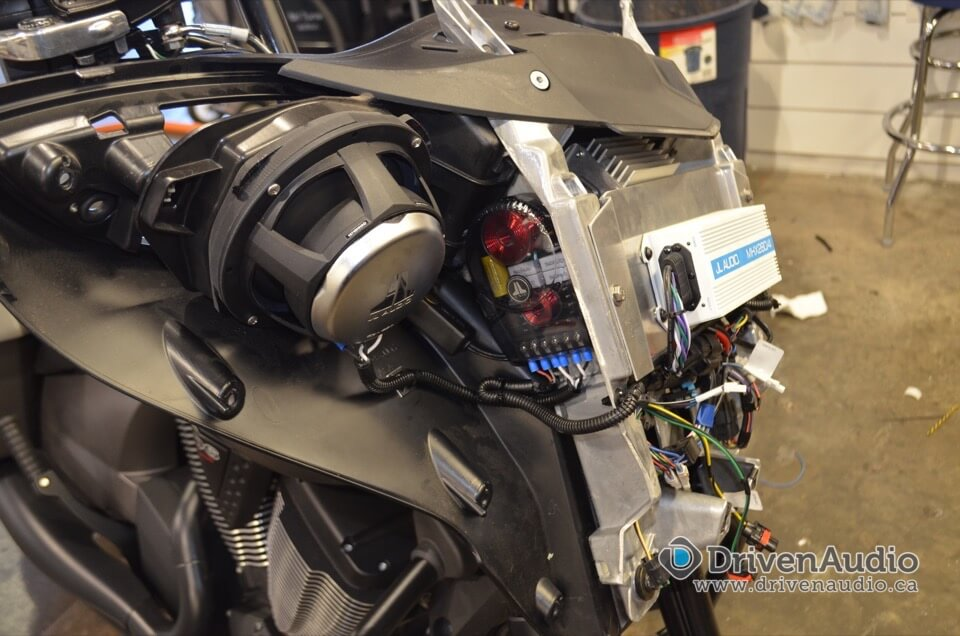 Victory Motorcycle Audio Upgrade - Abbotsford Client upgrades speakers and amplifier in fairing.