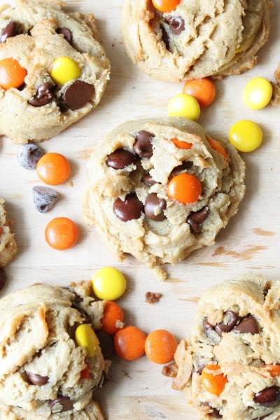 overhead shot of Reese's Pieces Peanut Butter Cookies with reese's pieces candies and chocolate chips sprinkled around them