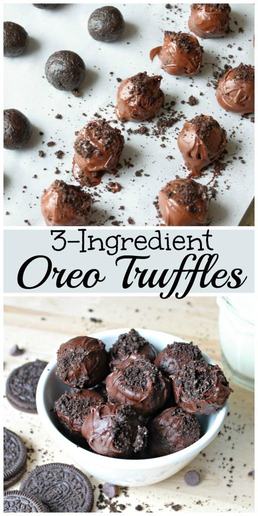 three ingredient oreo truffle picture collage