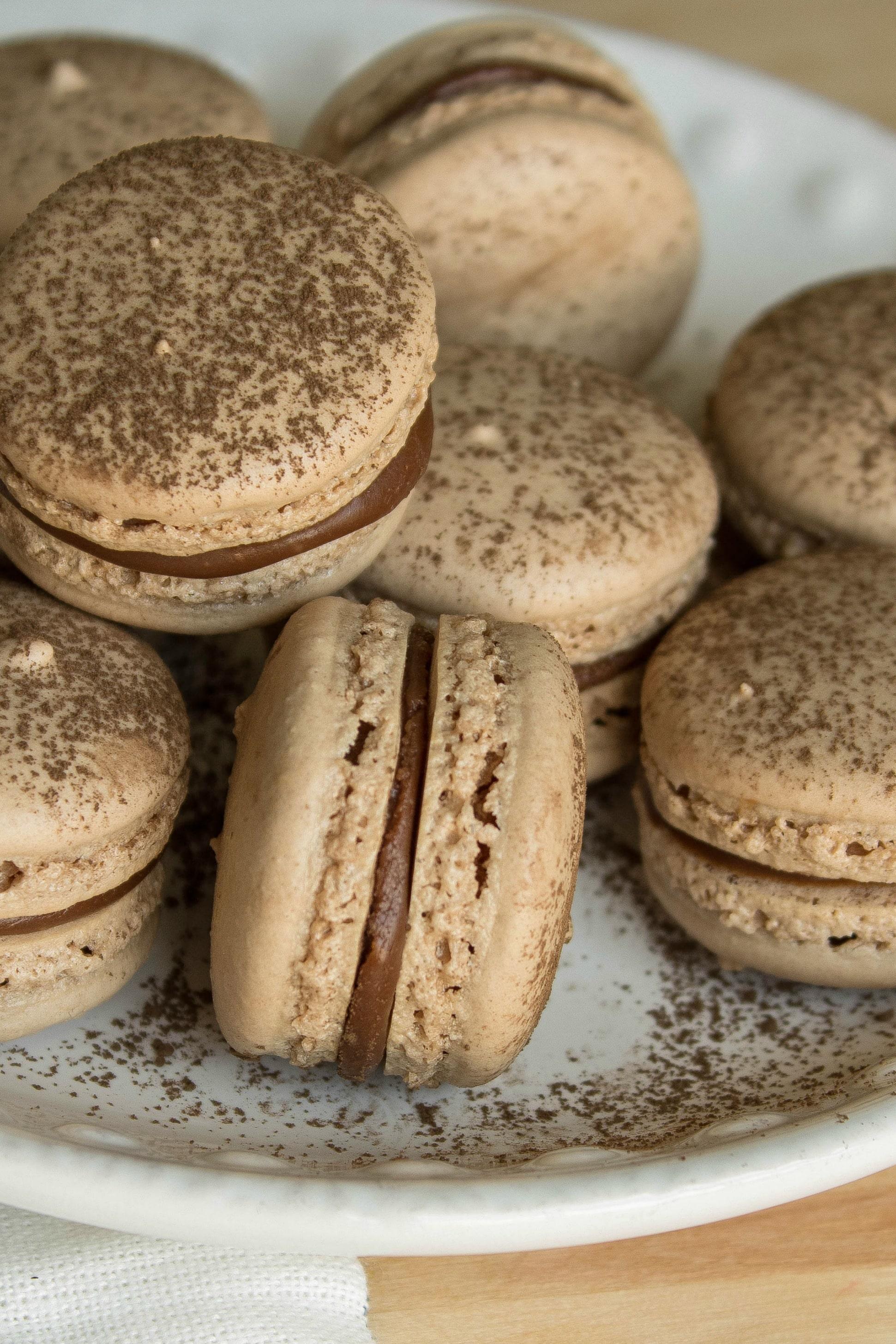 closeup of nutella macarons