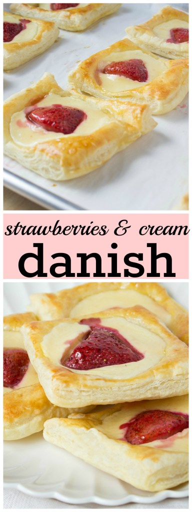 collage of strawberries and cream danish pictures