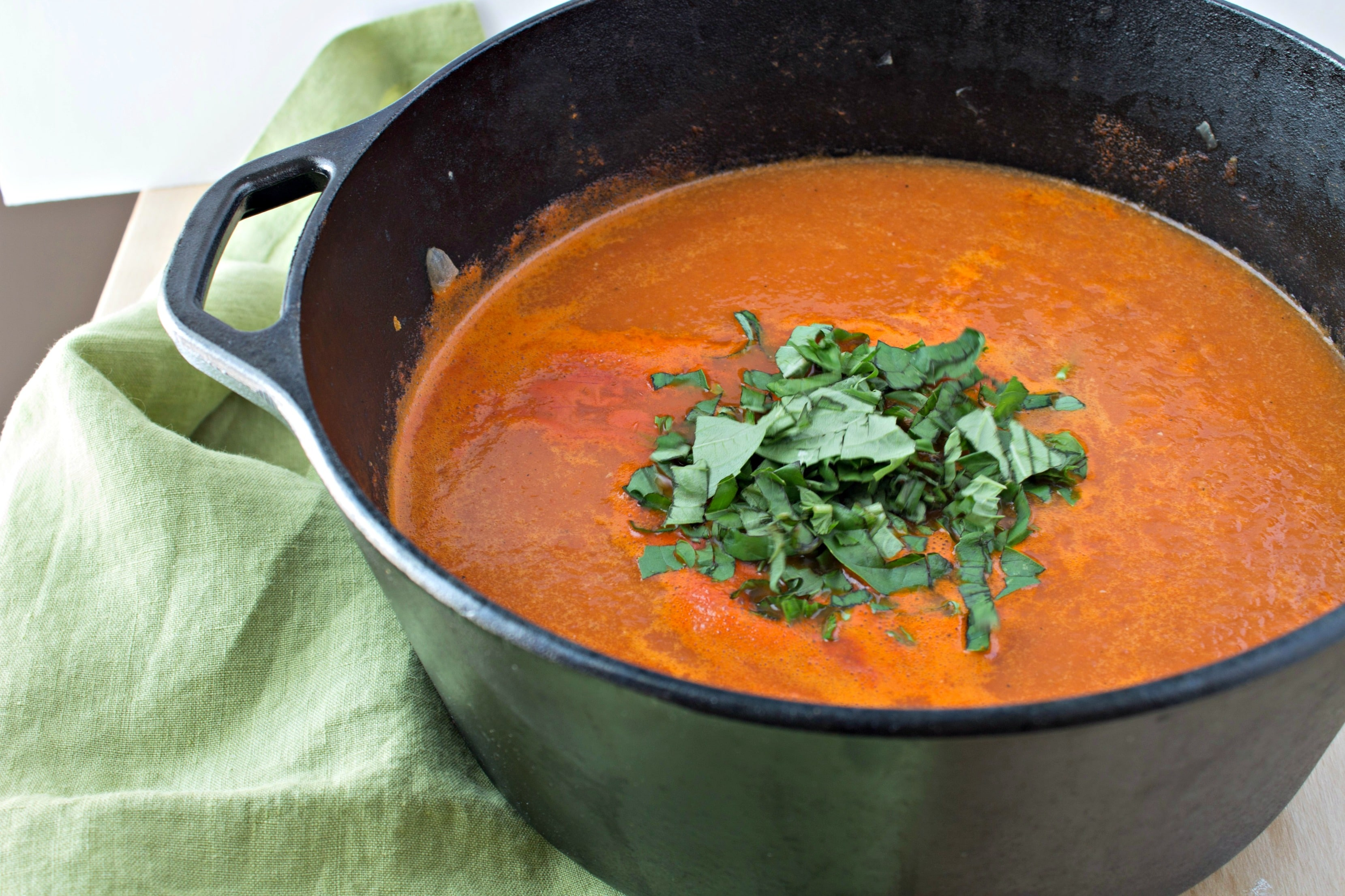 Creamy Tomato Basil Soup - A classic tomato soup, spiced up with the addition of basil and cream. Perfect for dipping your grilled cheese.
