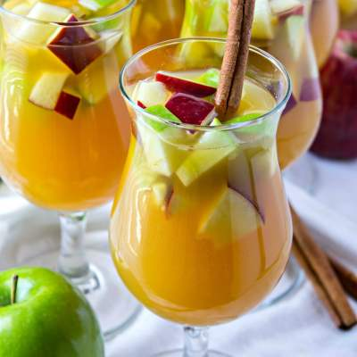 styled shot of Sparkling Apple Cider Sangria
