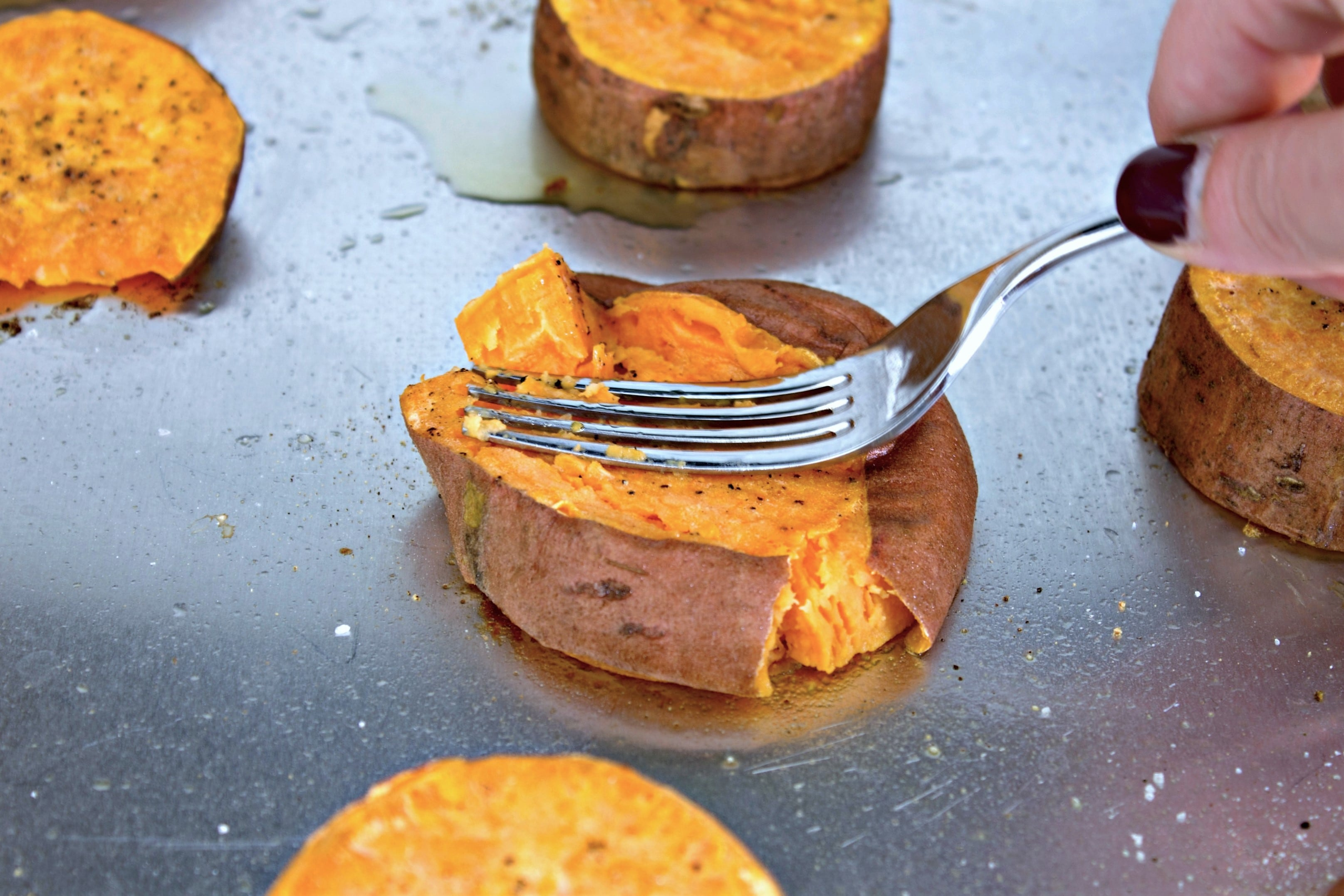 smashed sweet potatoes with garlic butter