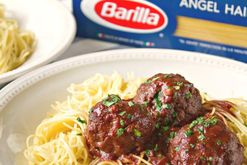 styled shot of Drunken Spaghetti Meatball, shot from a side angle