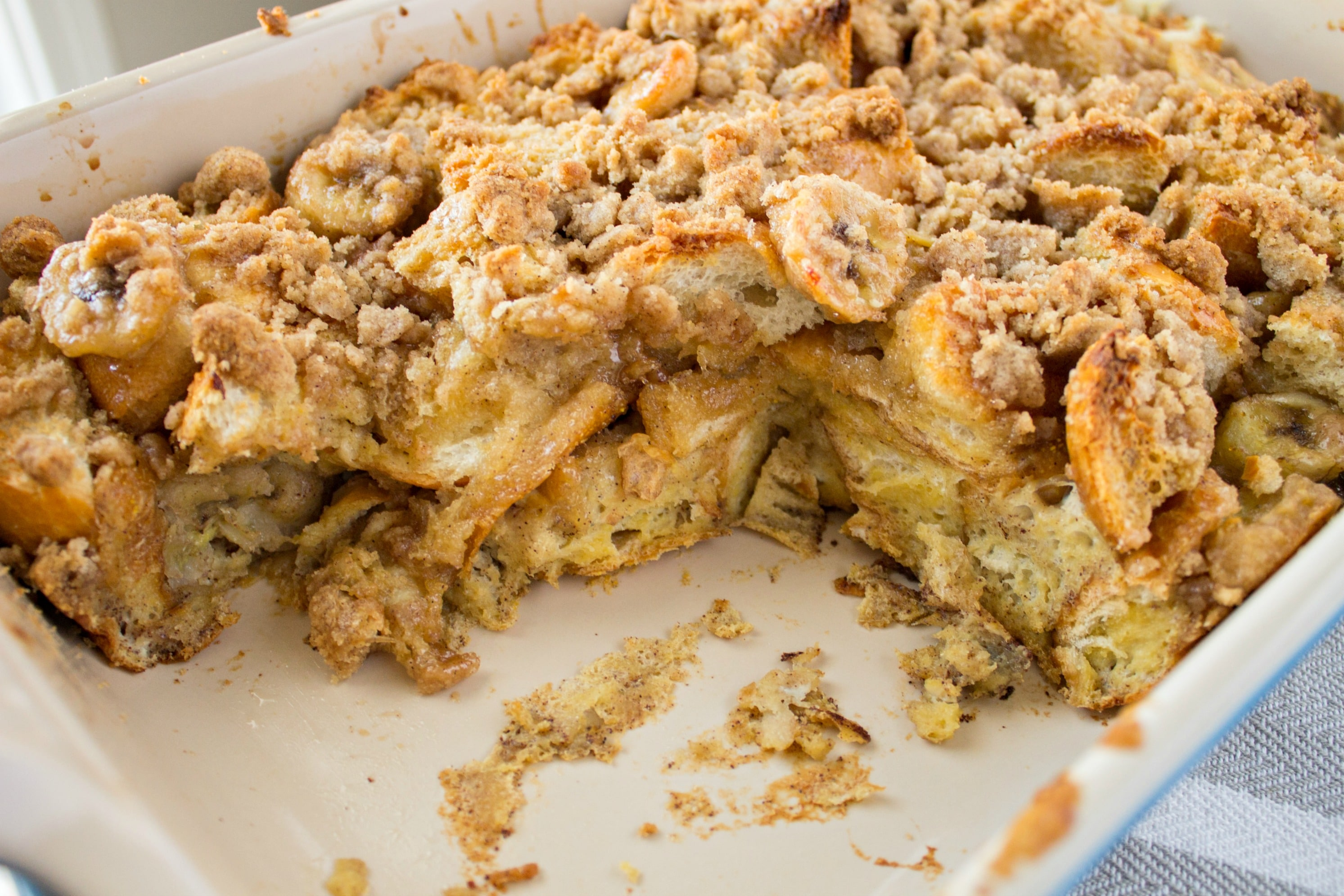 Bananas Foster French Toast Casserole in a casserole dish