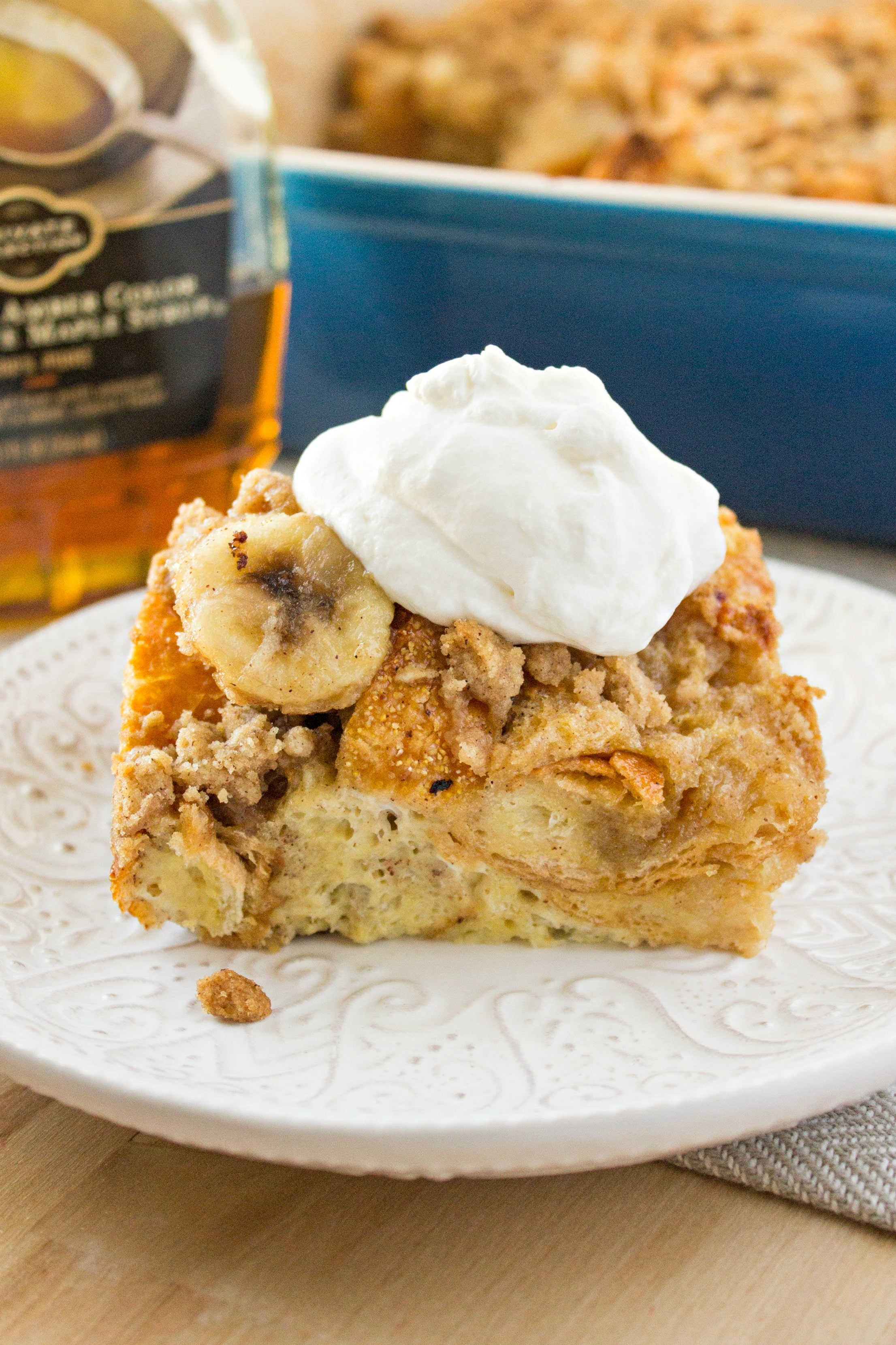 Piece of Bananas Foster French Toast Casserole