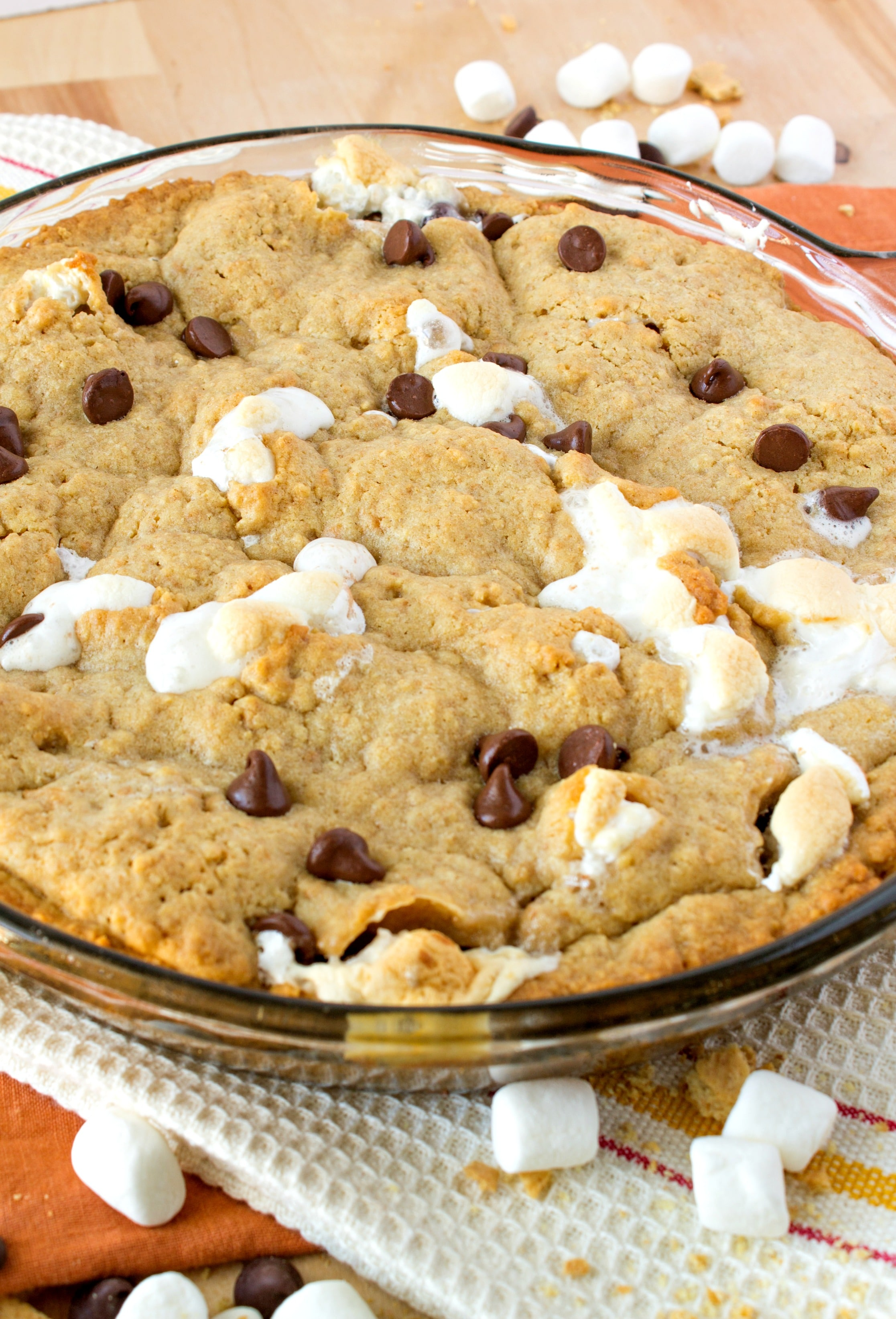 S'mores Cookie Cake -Your favorite campfire snack, now in cookie cake form! The crust is made from brown sugar cookie and graham crackers and filled with tons of chocolate and marshmallow. This dessert is sure to impress kids and adults alike!