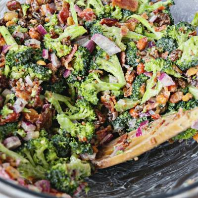 Fresh Broccoli Salad with Crispy Bacon