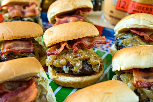 Bacon & Gruyere Sliders with Beer Caramelized Onions - The flavors of these sliders come together to make a perfect meal for a crowd, including your gameday needs. You cannot beat the combo of the Sweet and Soft Sliders from Pepperidge Farm and Warsteiner Pilsner beer