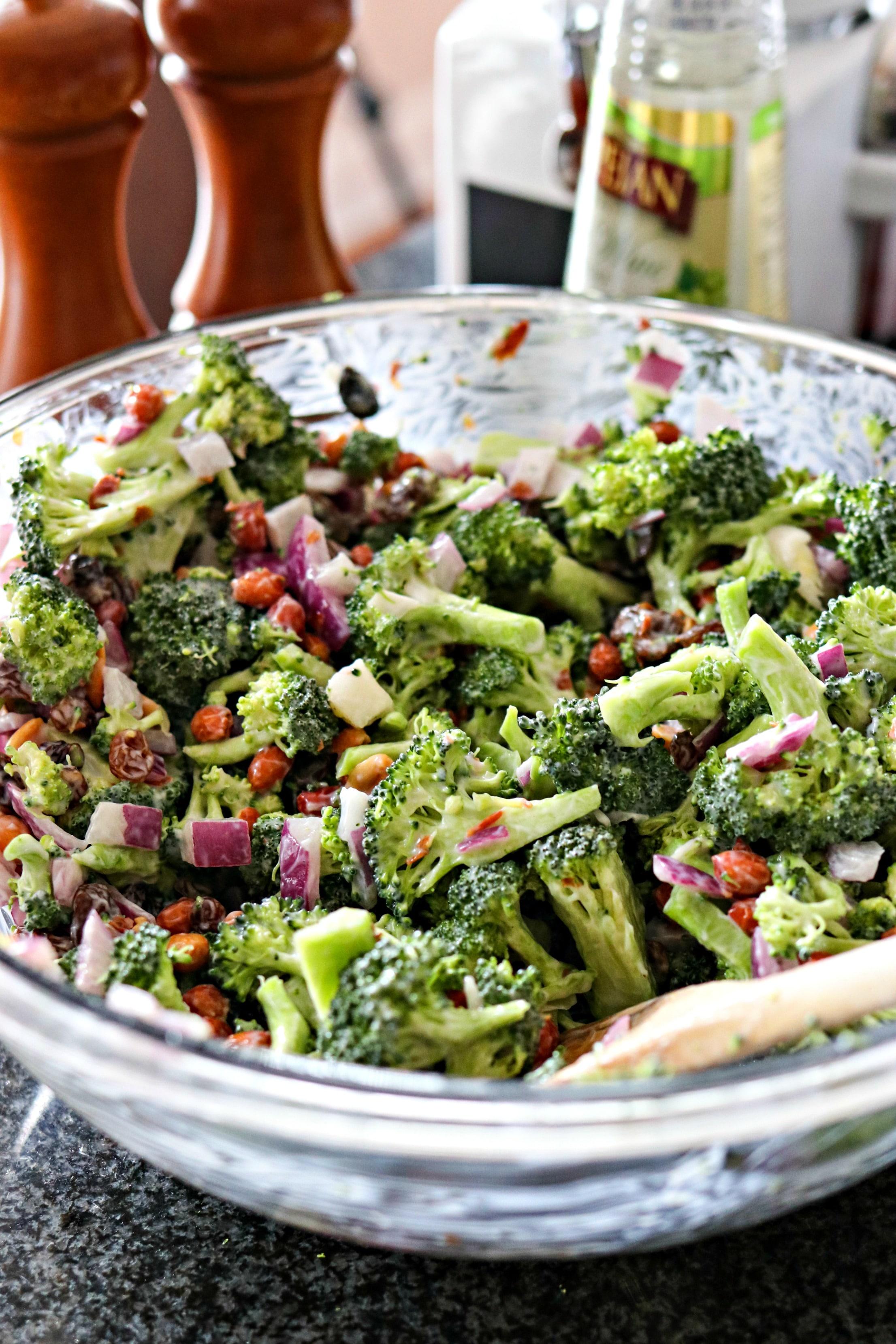 Bowl of Fresh Broccoli Salad with Crispy Bacon