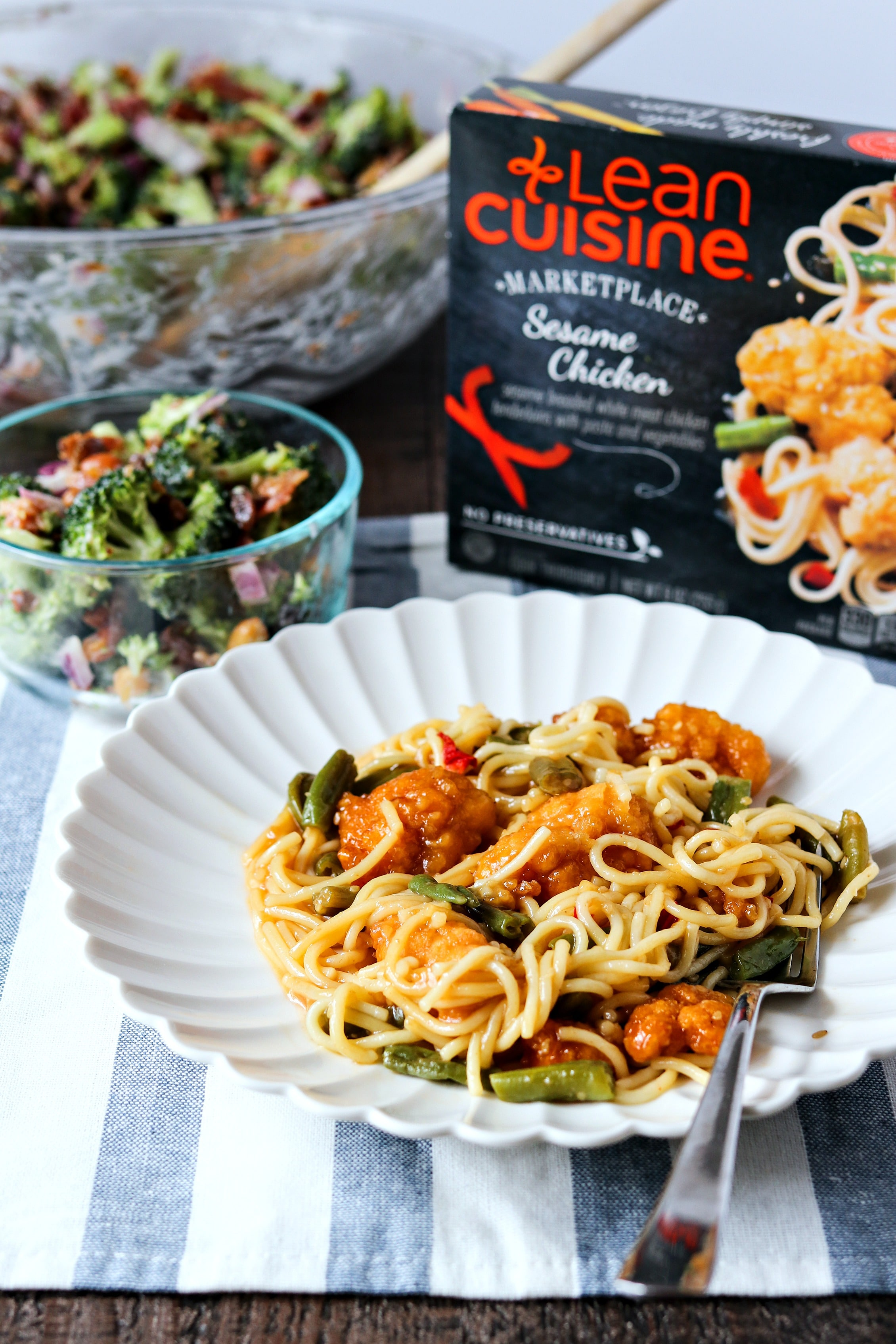 Lean cuisine Sesame chicken meal on a plate