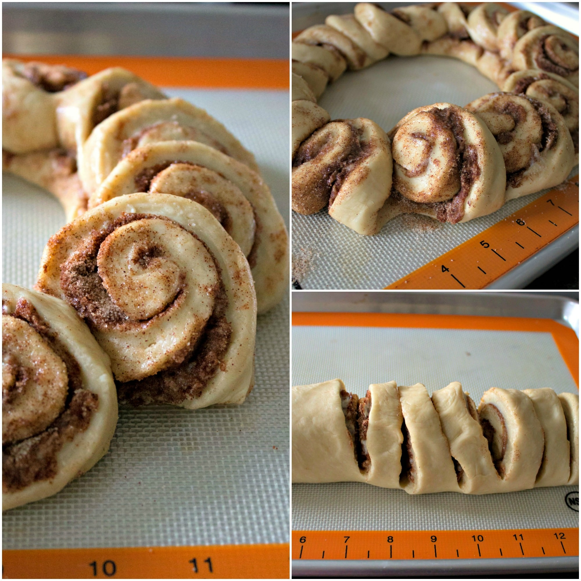 Slicing the cinnamon rolls and arranging them in a wreath