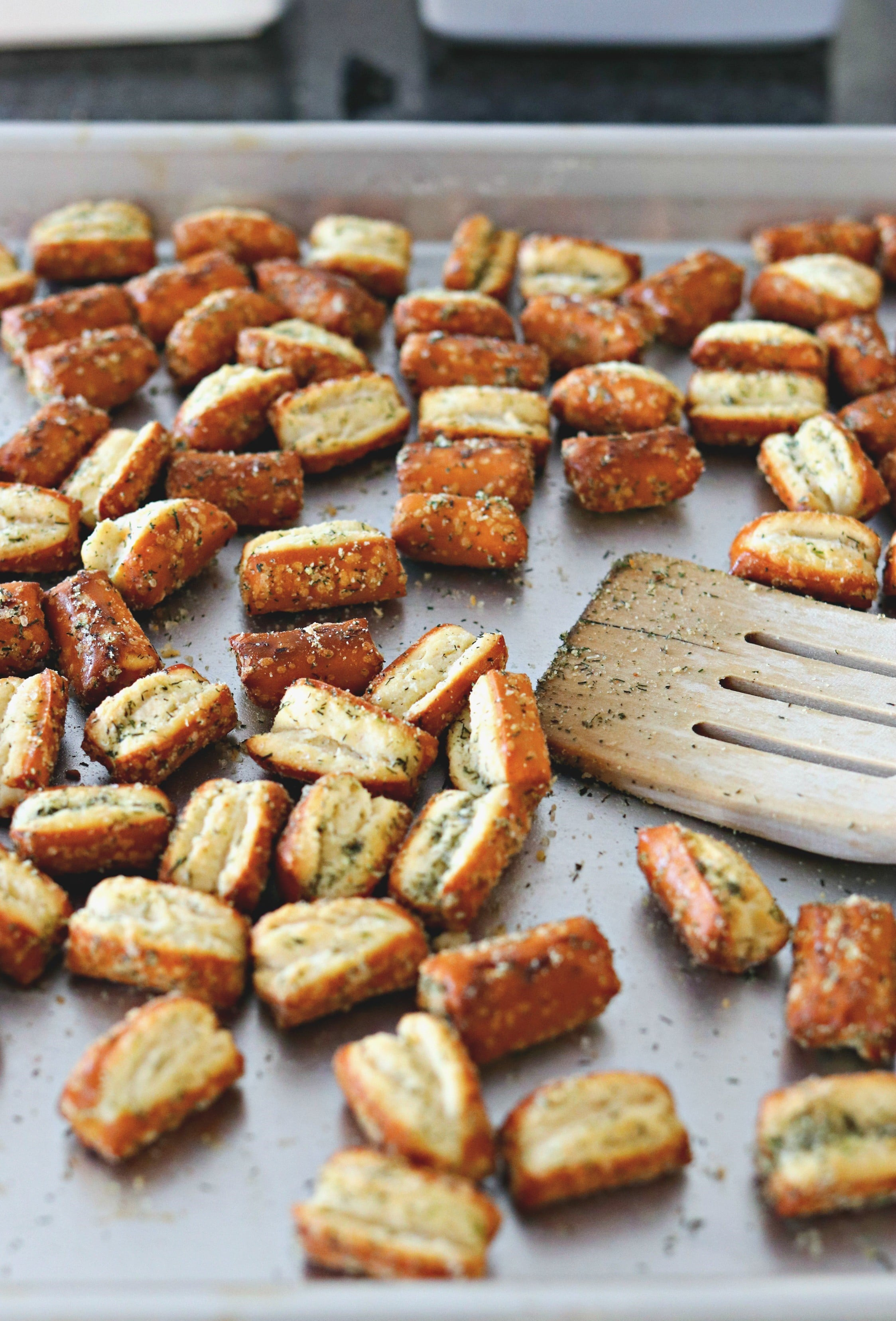 Easy Garlic Parmesan Pretzels on a cookie sheet