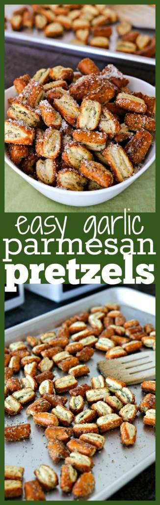 Easy Garlic Parmesan Pretzels photo collage