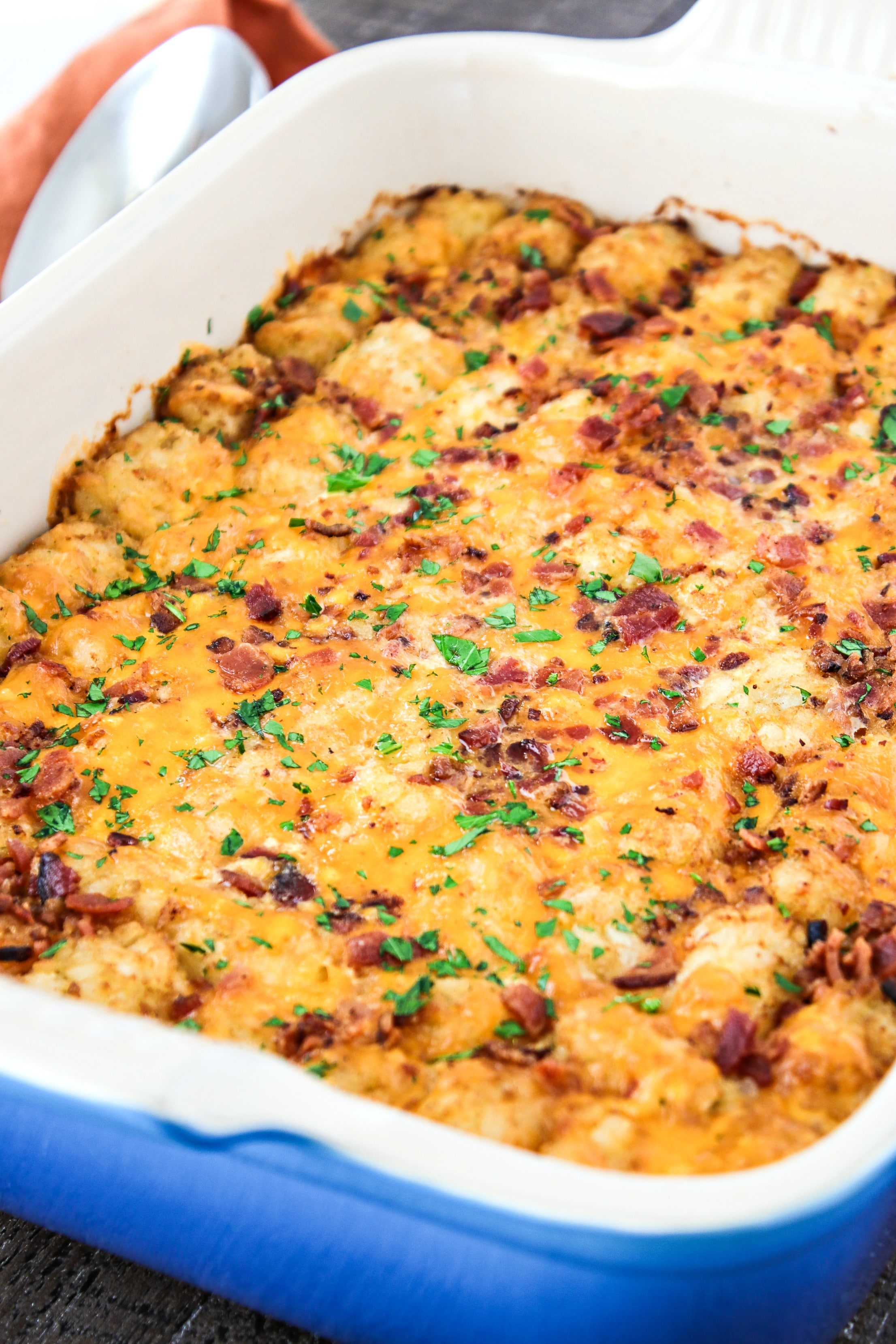 Cheesy Tater Tot Breakfast Casserole A That Incorporates All Of Your Favorite