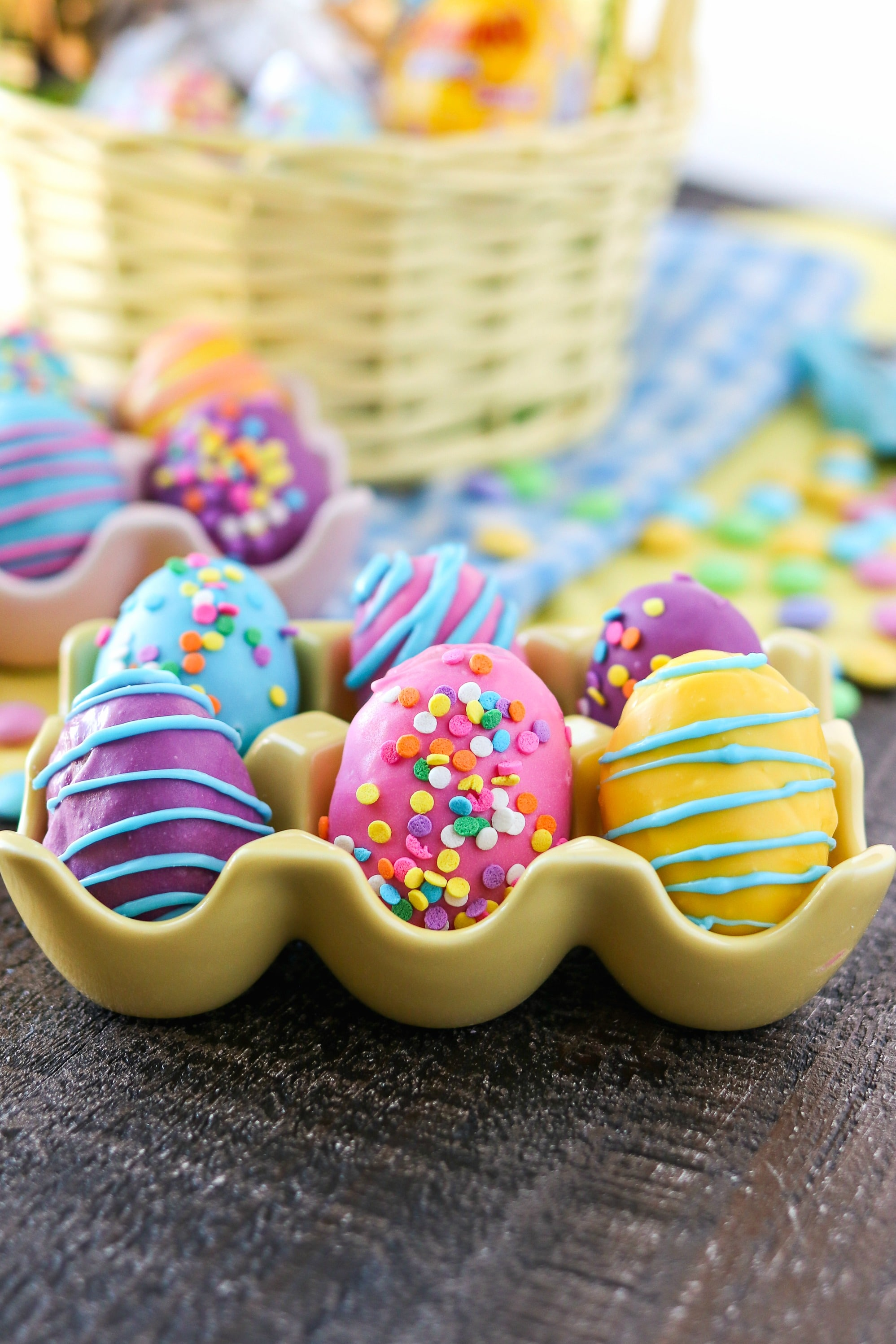 Cookie Dough Easter Eggs with M&M's® decorated in pastel colors