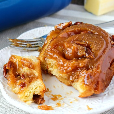 plate of pecan sticky bun