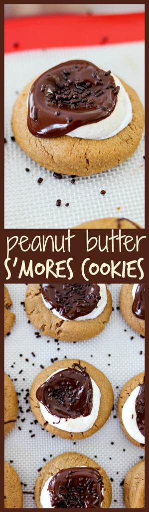 Peanut Butter Smores Cookies - A dense, chewy peanut butter cookie topped with a large marshmallow and drizzled with melted chocolate. It's a fun, new way to get your s'mores fix!