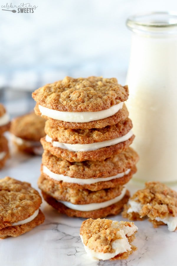 Stack of carrot cake sandwich cookies