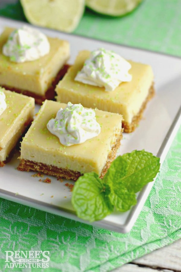 plate of key lime pie bars