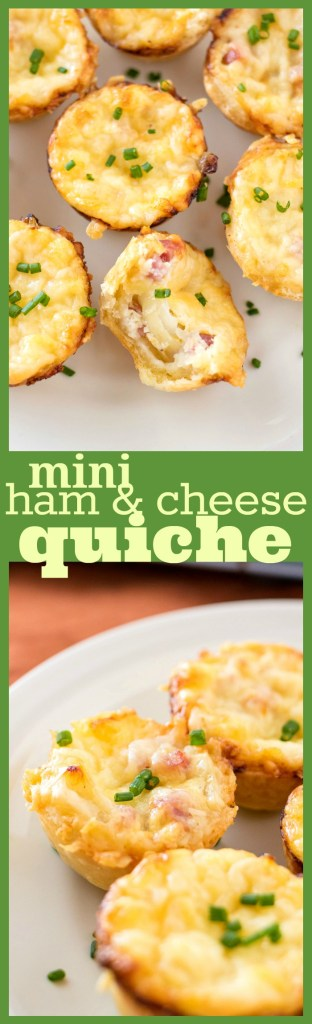 Mini Ham and Cheese Quiche with Caramelized Onions photo collage