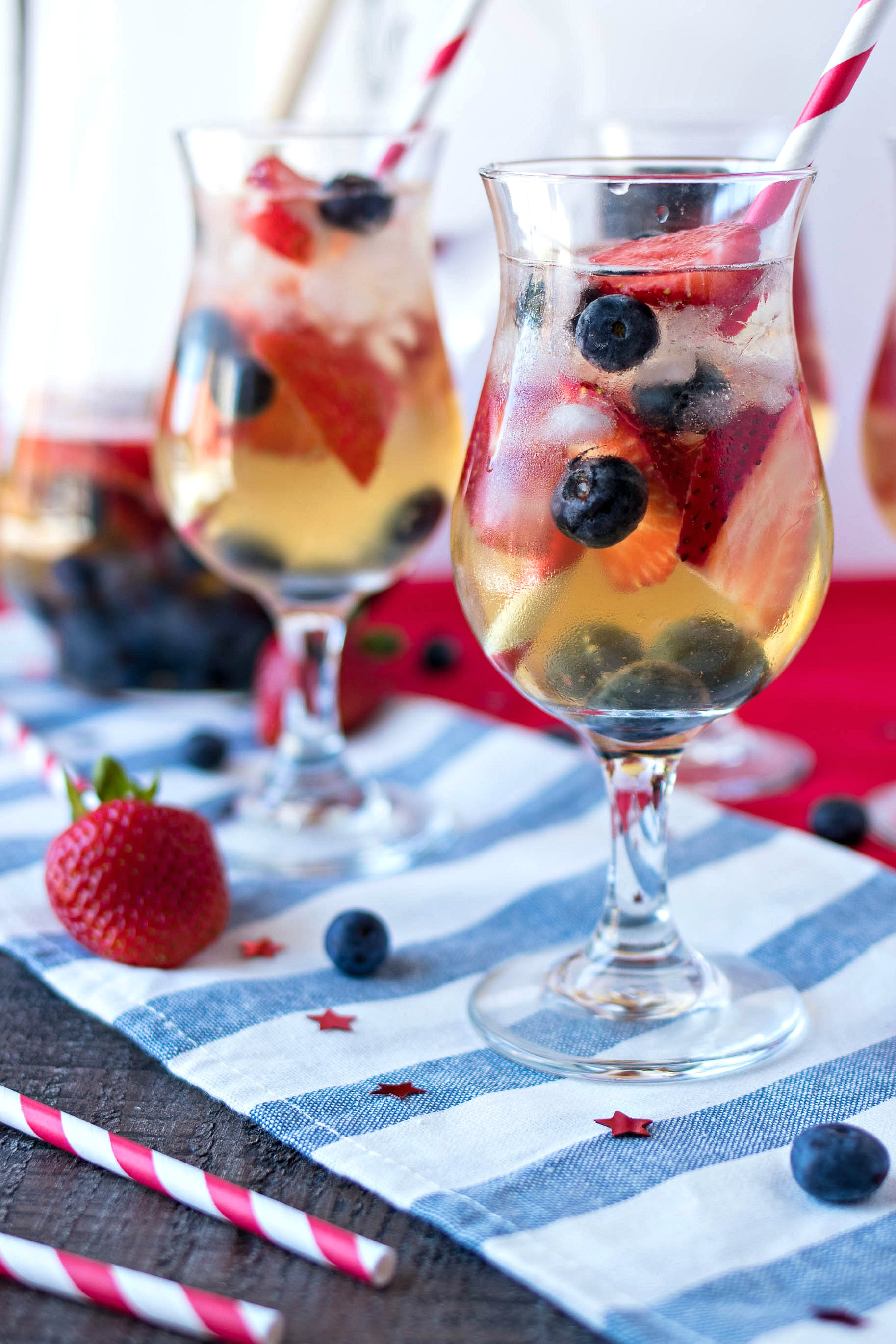 Two glasses of Red, White, & Blue Sangria