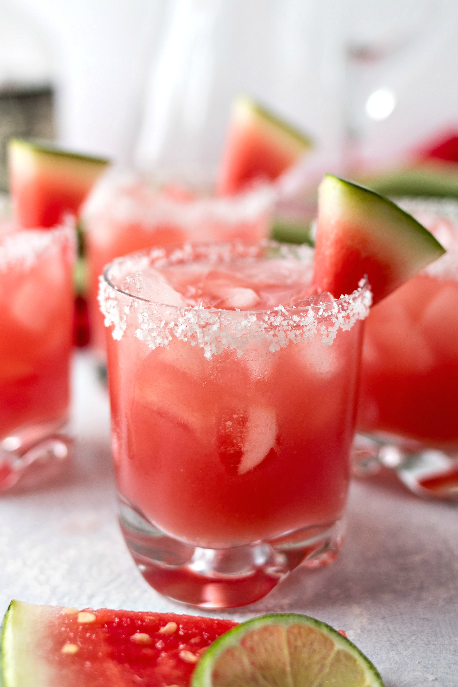 Watermelon Margarita with a watermelon slice on the rim