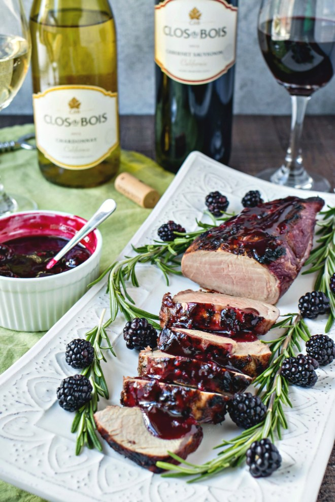 Blackberry & Rosemary Pork Tenderloin - Pork tenderloin is marinated in a blackberry & rosemary marinade, grilled to perfection, and then drizzled with a thick blackberry & rosemary sauce for a little added flavor. It's a great meal to spice up the weeknight dinners or enjoy for date night in.