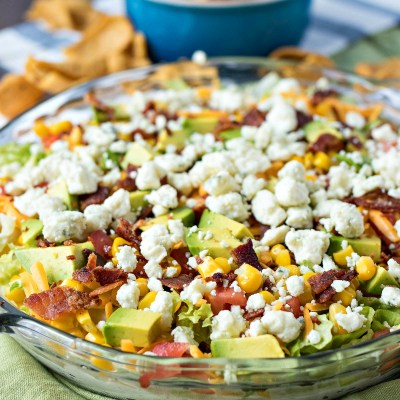 Cobb Salad Dip - A creamy ranch dip covered in your favorite toppings from a traditional cobb salad. The perfect appetizer for game days, summer parties, and barbecues!