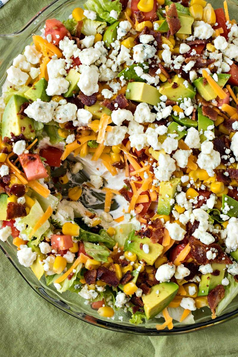 Closeup of Cobb Salad Dip