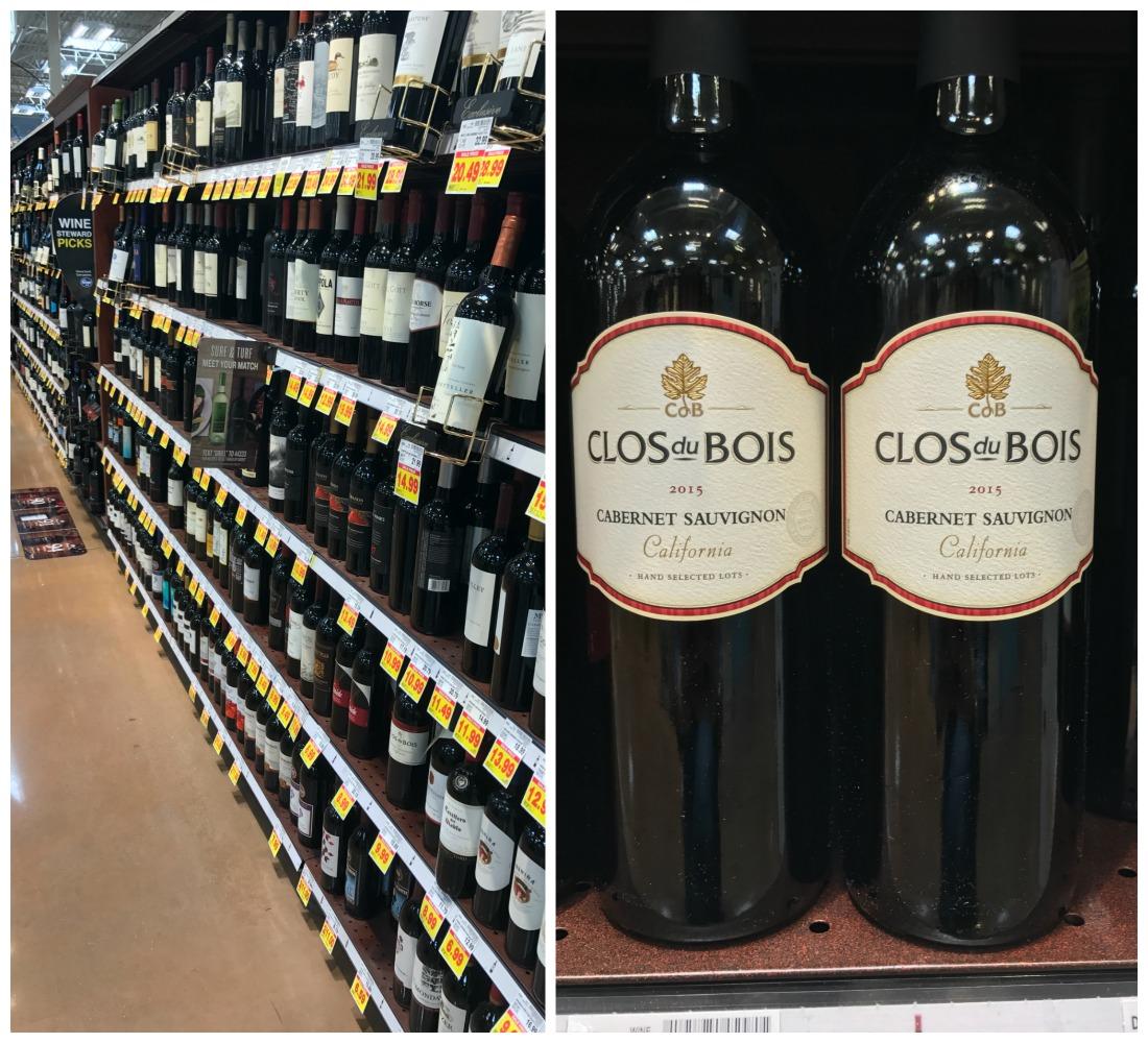Wine aisle and two bottles of clos du bois cabernet sauvignon