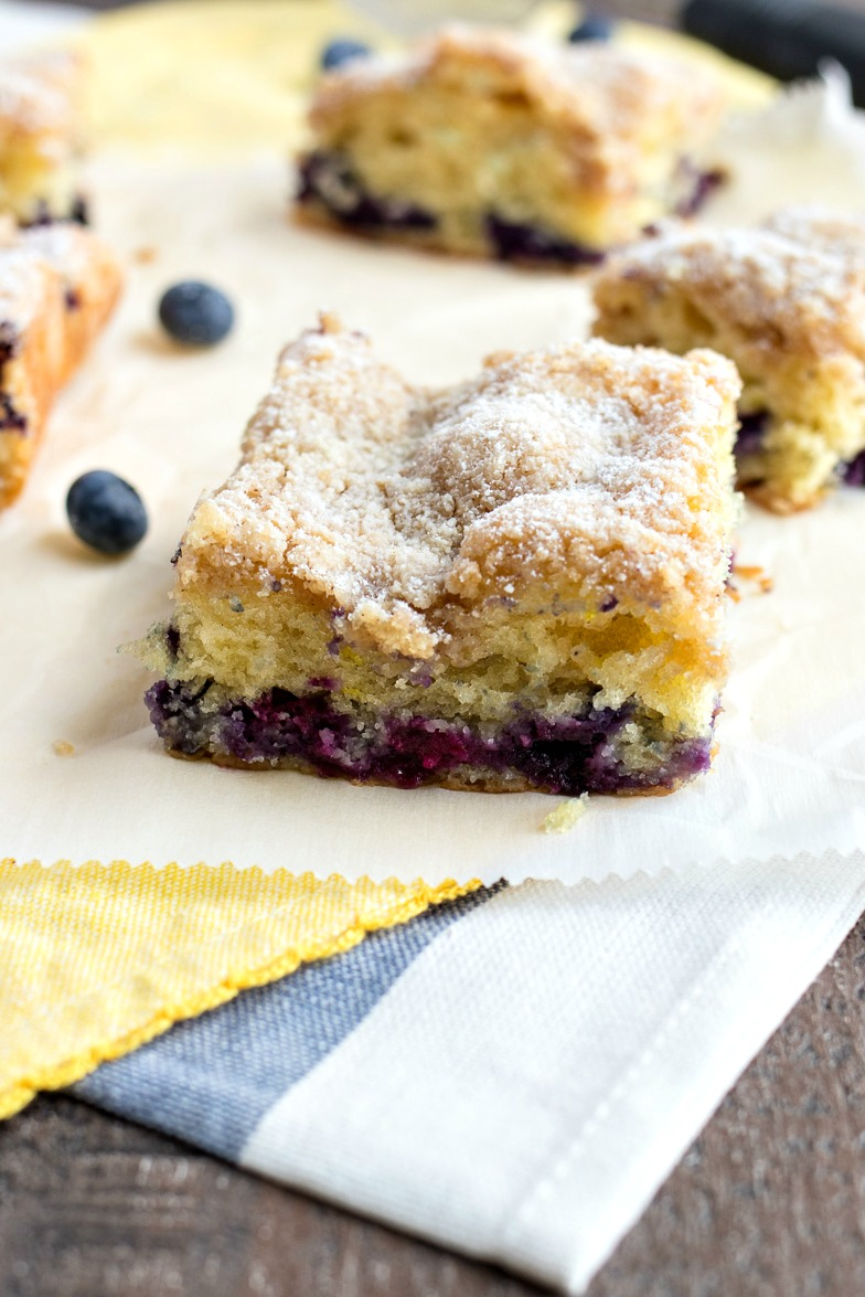 Blueberry Coffee Cake on wax paper