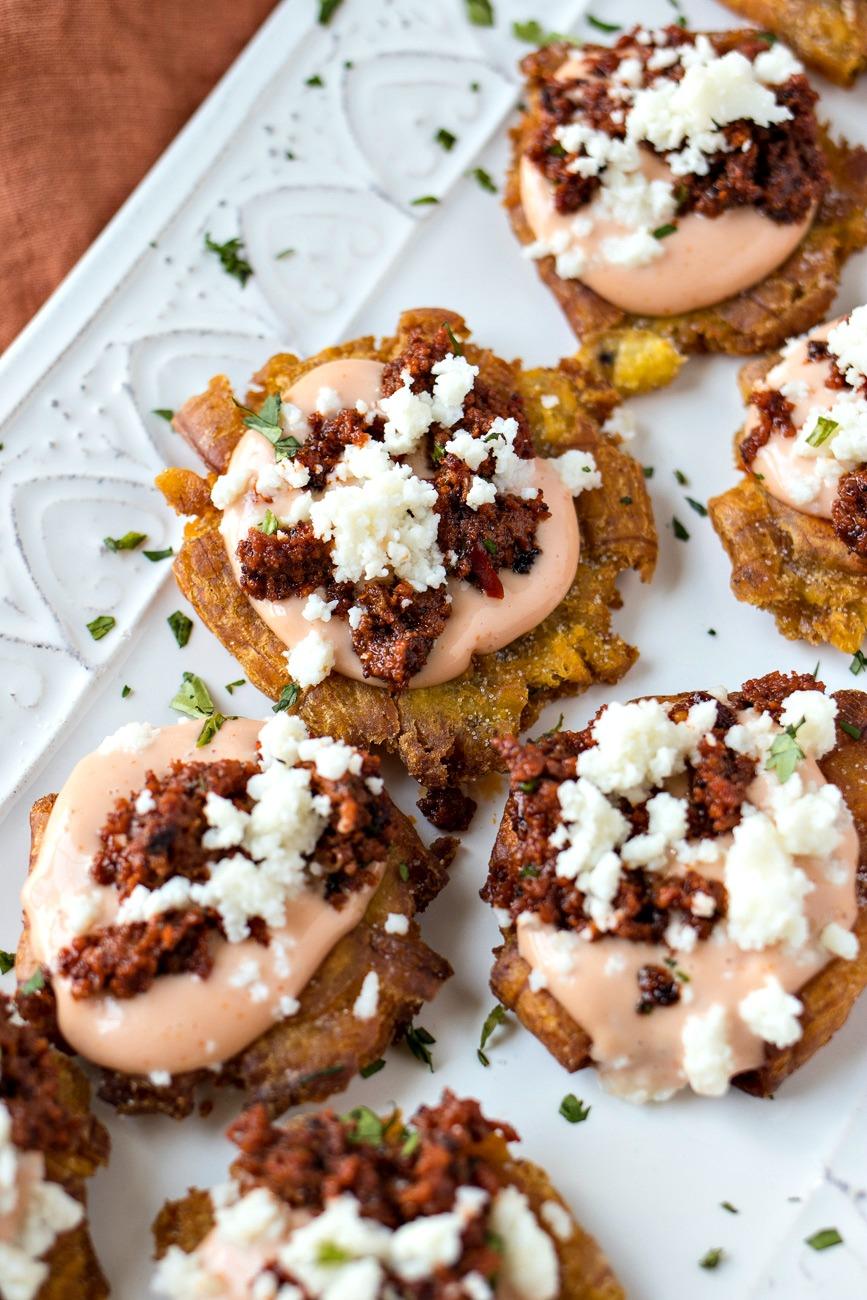 Chorizo & Queso Tostones on a tray